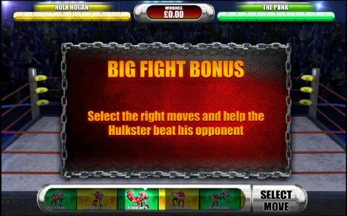 Hulkamania Review Slots big fight bonus - select the right moves and help the hulkster beat his opponent