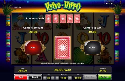 Hypno-Hippo Review Slots Red or Black Gamble feature