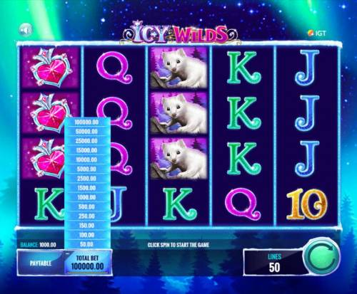 Icy Wilds Review Slots Click on the BET button to adjust the coin value. The available range for this game is 1.00 up to 2000.00.