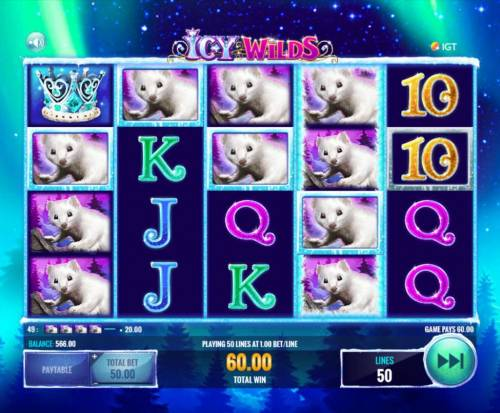 Icy Wilds Review Slots Multiple winning paylines triggers a 60.00 win!