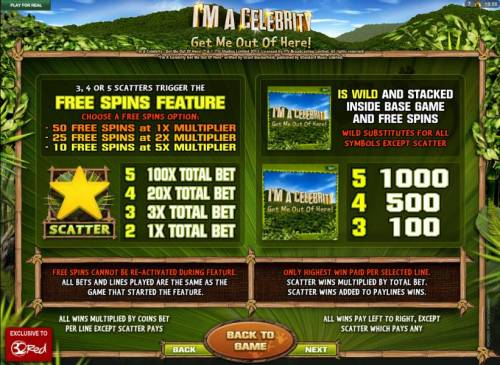 I'M A Celebrity Get Me Out Of Here! Review Slots Free Spins feature, Wild Symbol and Scatter symbol pays.