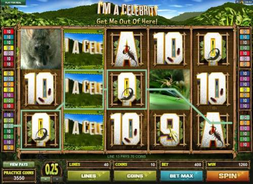 I'M A Celebrity Get Me Out Of Here! Review Slots A 1260 credit big win triggered by multiple winning paylines.