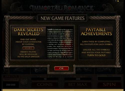 Immortal Romance Review Slots introducing new game features, dark secrets revealed and paytable achievements