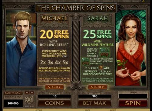 Immortal Romance Review Slots Micahel and Sarah both offer even more free spins with different game affects
