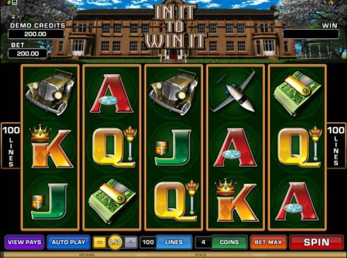 In It To Win It Review Slots main game board featuring five reels and 100 paylines