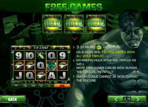 The Incredible Hulk 50 Lines Review Slots 3 or more incredible hulk symbols anywhere on screen wins 10 free games