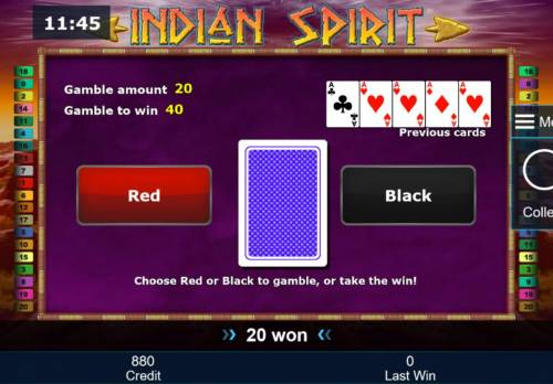 Indian Spirit Review Slots Gamble Feature - To gamble any win press Gamble then select Red or Black.