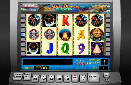 Indian Dreaming Review Slots Main game board featuring five reels and 25 paylines with a $9,000 max payout