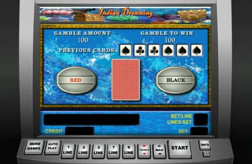 Indian Dreaming Review Slots Gamble feature game board is available after every winning spin. For a chance to increase your winnings, select the correct color or suit of the next card or take win.