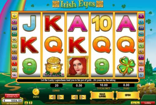 Irish Eyes Review Slots Main game board featuring five reels and 20 paylines with a $50,000 max payout