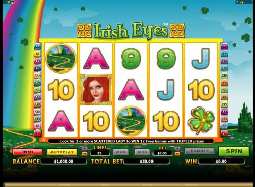 Irish Eyes Review Slots main game board featuring 5 reels and 25 paylines