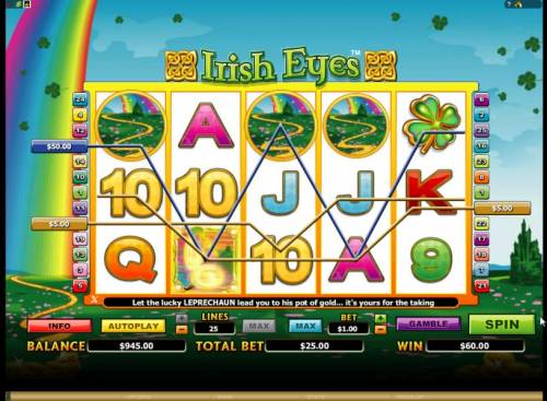 Irish Eyes Review Slots here is an example of a typical 60 coin multiline win