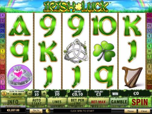 Irish Luck Review Slots Main game board featuring five reels and 30 paylines with a $500 max payout