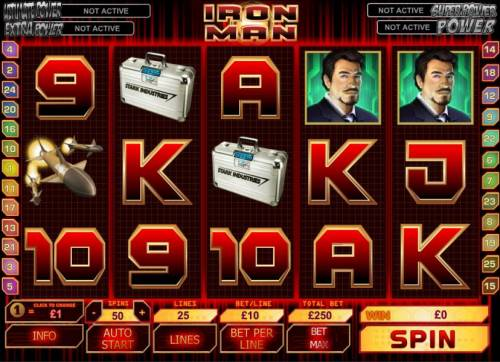 Iron Man Review Slots main game board featuring 5 reels and 25 paylines