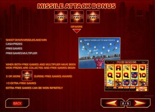 Iron Man Review Slots three or more iron man symbols anywhere triggers missle attack bonus