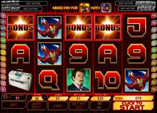 Iron Man Review Slots three bonus symbols trigger bonus feature