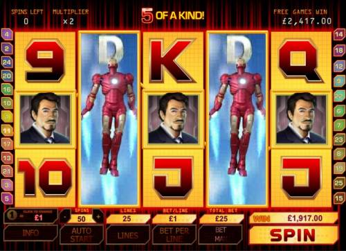 Iron Man Review Slots 5 of a kind leads to a big win jackpot during bonus round