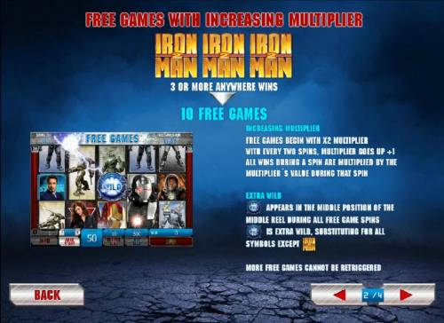 Iron Man 2 - 50 Lines Review Slots Free games with increasing multiplier with three or more scatter wins
