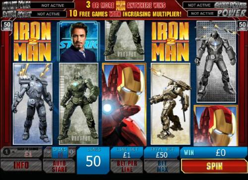 Iron Man 2 - 50 Lines Review Slots scatter win triggered by two iron man 2 scatter symbols
