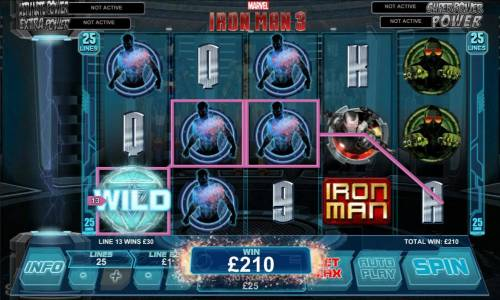 Iron Man 3 Review Slots 210 coin jackpot triggerd by multiple winning paylines