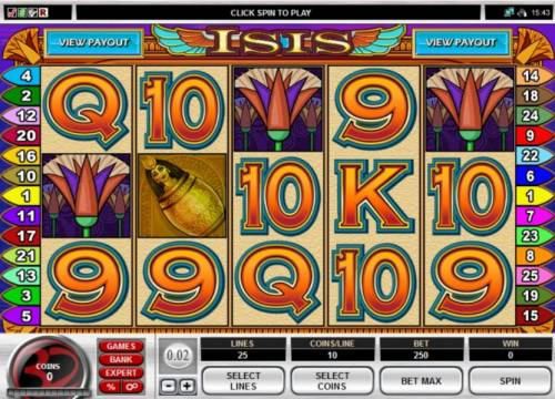 Isis Multi-Player slot Review Slots Main game board featuring five reels and 40 paylines with a 100,000x max payout