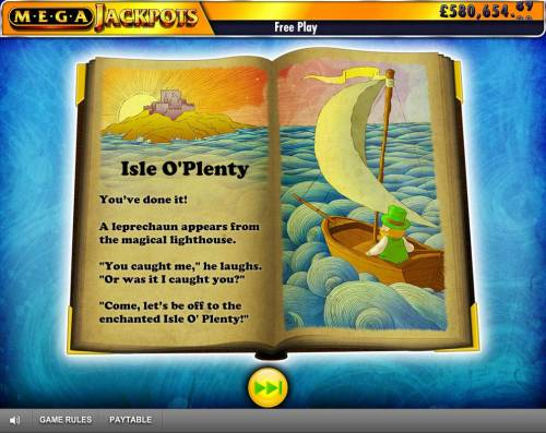 Isle of Plenty Review Slots Free Spins Feature Triggered - Press the arrow to start the Free Spns feature.