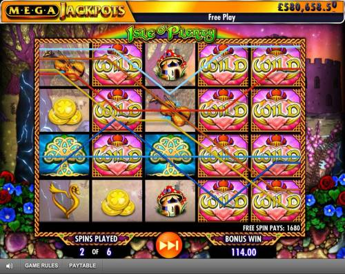 Isle of Plenty Review Slots A 1680 coin jackpot triggered by multiple winning paylines during the Free Spins Feature.