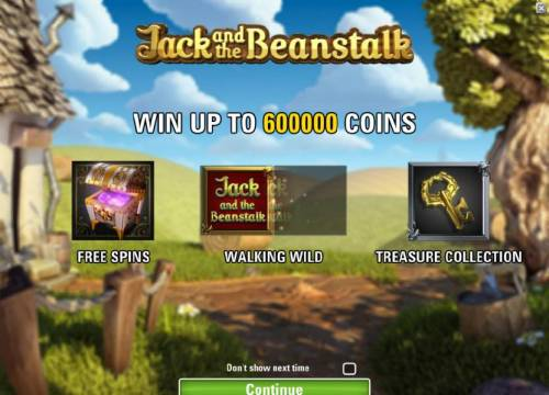 Jack and the Beanstalk Review Slots game features - win up to 600000 coins, free spins, walking wild and treasure collection