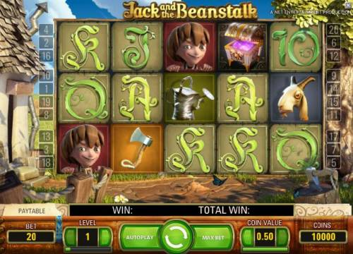 Jack and the Beanstalk Review Slots main game board five reels, twenty paylines and a chance to win up to 600000 coins