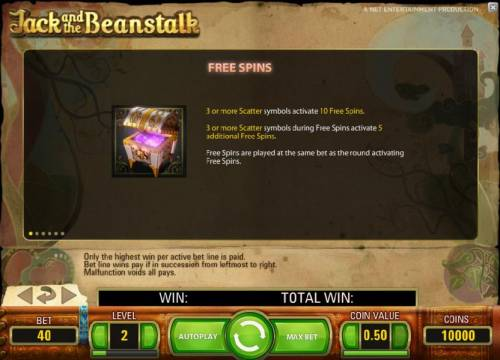 Jack and the Beanstalk Review Slots free spins game rules