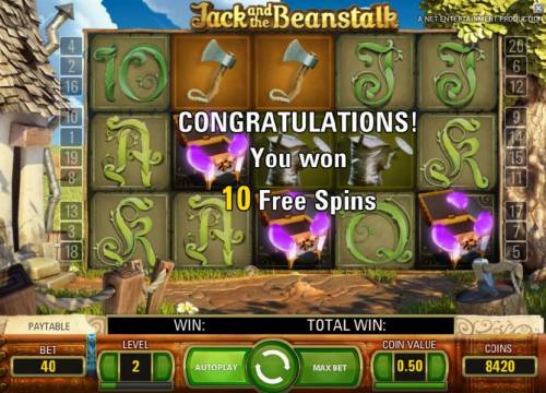 Jack and the Beanstalk Review Slots 10 free spins awarded