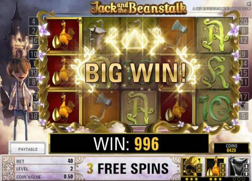 Jack and the Beanstalk Review Slots stacked golden hens triggers a 996 coin big win during the free spins feature