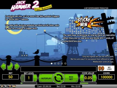 Jack Hammer 2 - Fishy Business Review Slots Jack Hammer 2 Fishy Business 3 or more free spin symbols triggers Sticky Win feature