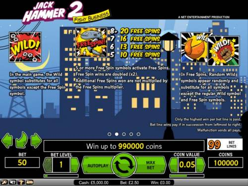 Jack Hammer 2 - Fishy Business Review Slots Jack Hammer 2 Fishy Business Wild symbol substitutes for all symbols except the free spin symbol