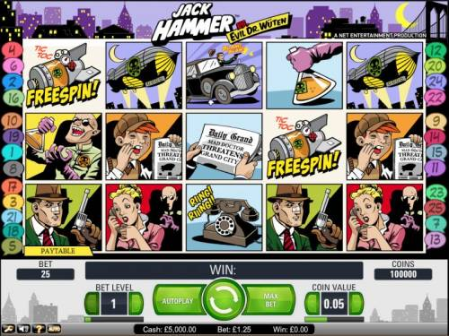 Jack Hammer Vs. Evil Dr. Wuten Review Slots Jack Hammer slot game board