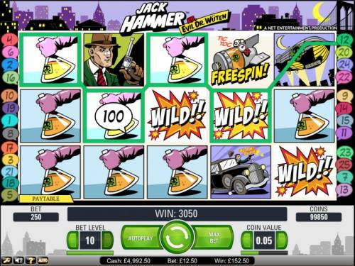 Jack Hammer Vs. Evil Dr. Wuten Review Slots Gonzo's Quest slot game sticky win 3050 coin jackpot payout