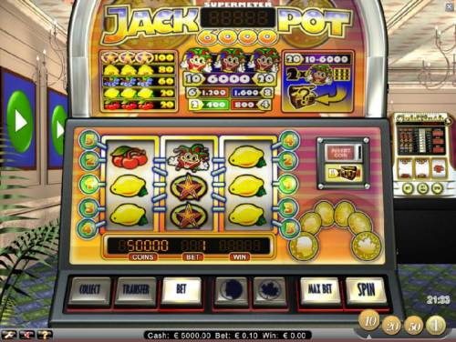 Jackpot 6000 Review Slots main game board featuring three reels and five paylines
