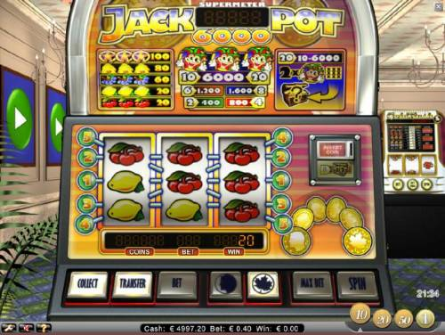 Jackpot 6000 Review Slots multiple winning paylines triggers a 20 coin jackpot