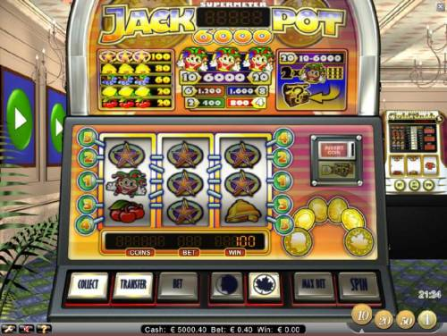 Jackpot 6000 Review Slots three star symbols triggers a 100 coin big win
