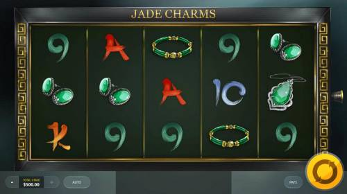 Jade Charms Review Slots Main game board featuring five reels and 20 paylines with a $5,000 max payout.
