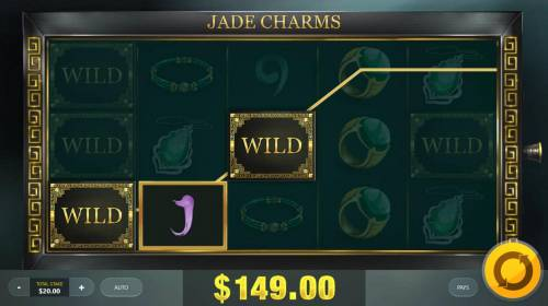 Jade Charms Review Slots Random wilds triggers a 149.00 payout.