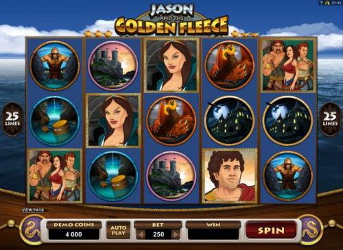 Jason and the Golden Fleece Review Slots Main game board featuring five reels and 25 paylines with a $20,000 max payout