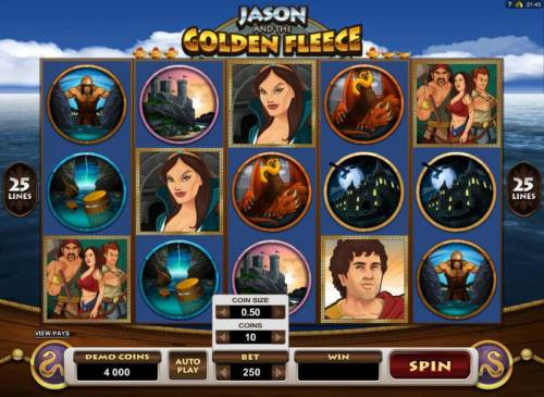 Jason and the Golden Fleece Review Slots Select the paylines, bet per line and coin value by clicking on the Bet bar.