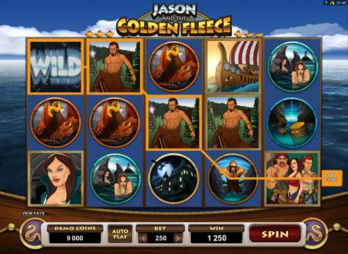 Jason and the Golden Fleece Review Slots Four of a Kind triggers an 800 coin line pay.