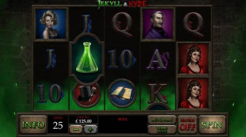 Jekyll & Hyde Review Slots Main game board featuring five reels and 25 paylines with a $50,000 max payout
