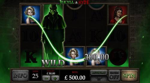 Jekyll & Hyde Review Slots Expanded wild on reel 2 triggers multiple winning paylines leading to a 500.00 big win!