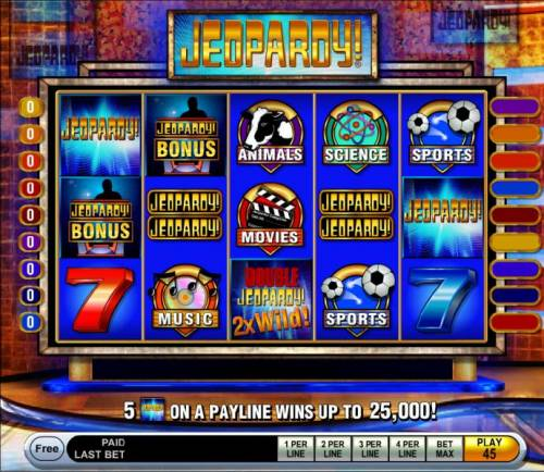 Jeopardy Review Slots Main game board featuring five reels and 15 paylines with a $25,000 max payout