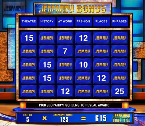 Jeopardy Review Slots For each selection you are awarded line multipliers