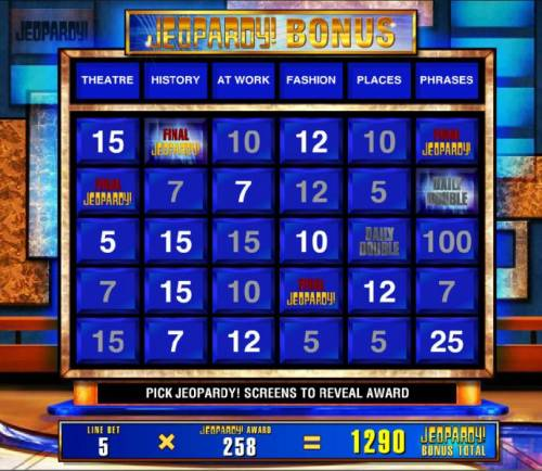 Jeopardy Review Slots The pick Jeopardy bonus ends when you reveal the Final Jeopardy symbol.