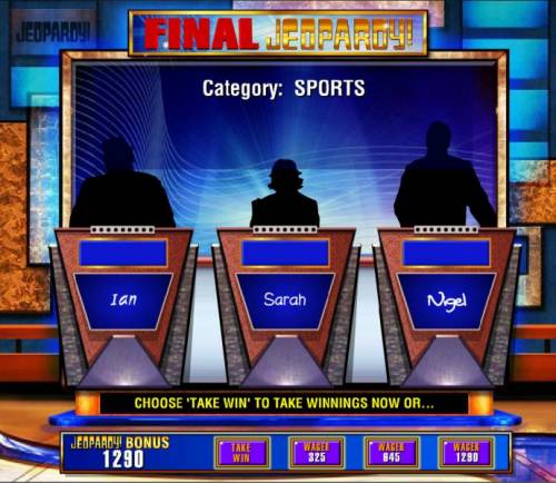 Jeopardy Review Slots The second part of the bonus feature is Final Jeopardy. You have a choice to wager a portion of your winnings or take it.